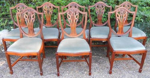 Set of Eight Yew Dining Chairs by Bradley